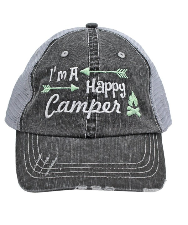 Light Green I'm am A Happy Camper Women Embroidered Trucker Style Cap Hat Rocks any Outfit - CY1820OCYKA