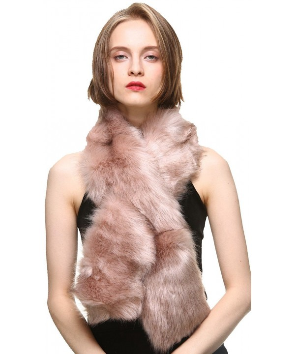 Vogueearth Faux Fur Women Winter Warmer Long Scarf Fashion Wrap Accessory - Pink - C31879UKT64