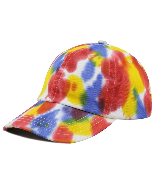 The Hat Depot Unisex 100% Cotton Tie Dye Low Profile Washed Baseball Cap - D - C412FT0G1HX