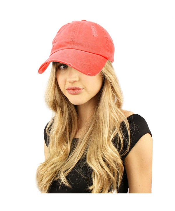 Distressed Stone Wash Denim Summer Cotton Baseball Cap Hat Adjustable - Coral - CM184Y7MX4S