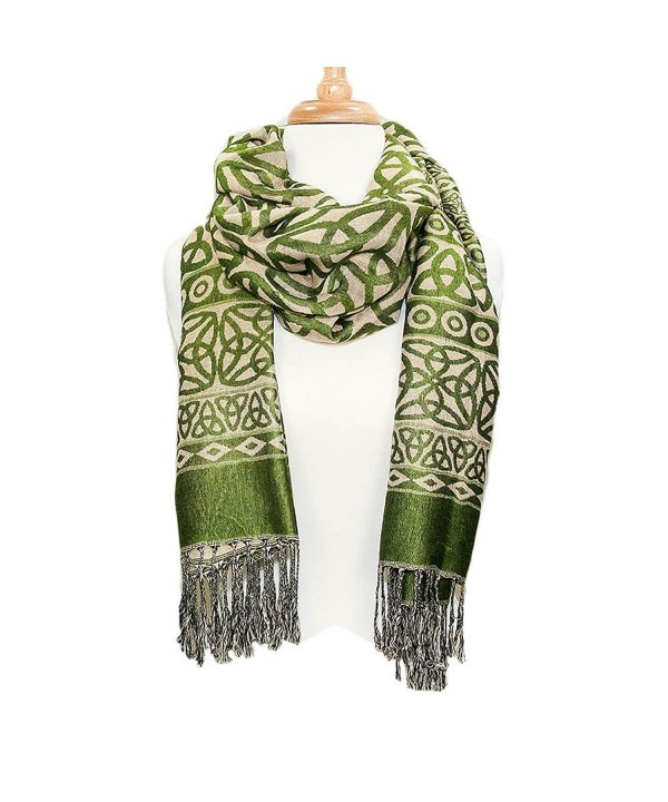 Ladies Celtic Heritage Scarf- Ancient Celtic Style Design- Moss Green - C912G20EXAF