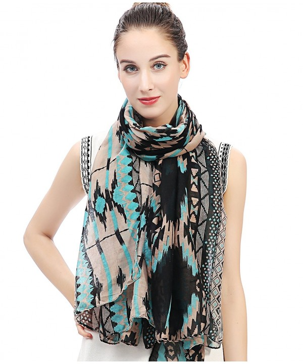 Lina & Lily Vintage Women's Aztec Tribal Print Long Scarf Large Size Lightweight - Neon Blue and Black - CJ11W0FU25X