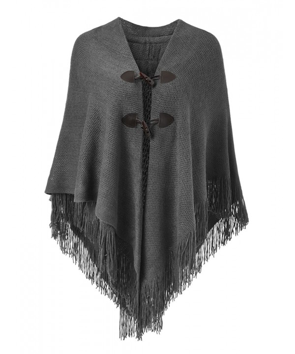Ferand Women's Loose Fitting Poncho Cape Shawl With Stylish Horn Buttons- V Neckline and V Hem - Dark Grey - CP184HMIM2H