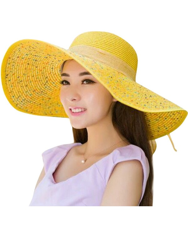 JOYEBUY Women Big Bowknot Straw Hat Floppy Foldable Roll up UV Protection Beach Cap Sun Hat - Sequins-yellow - CO18C0YSIAQ
