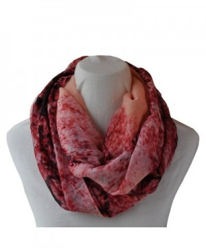 Infinity Loop Scarf Fashionable Soft Lightweight Multi Colors and Patterns For Women - Peach- Red and Pink - CO12EJL8CF7