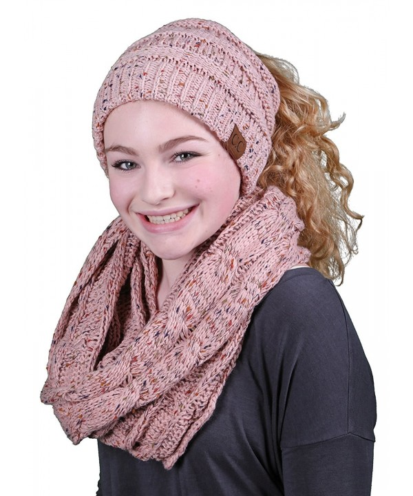 Funky Junque CC Messy Bun BeanieTail Bundled w Matching Infinity Scarf - A Confetti Indi Pink Design - C9188AX5KOK