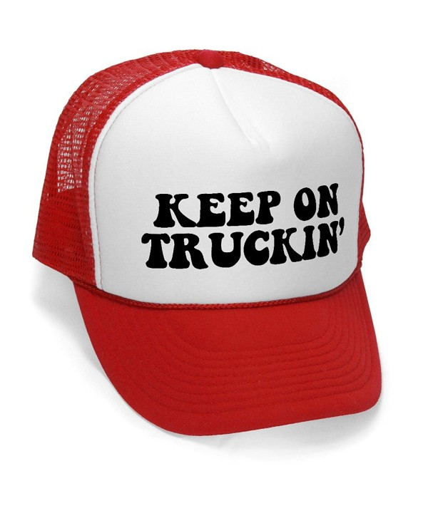 Megashirtz - Keep On Truckin' - Retro Vintage Style Trucker Hat Cap - Red - CK11K0UVEQL