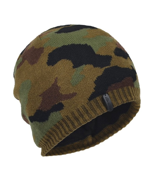 Janey&Rubbins Men's Soft Knitted Camouflage Beanie Hat Skull Ski Cap - Green - CA126IT399H