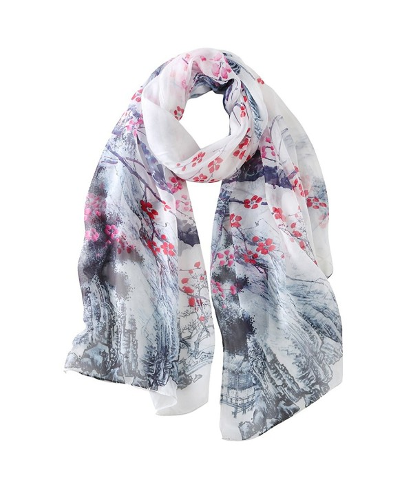 STORY OF SHANGHAI Womens Large Mulberry Silk Scarf Ladies Floral Print Shawl Wraps - Qt10 - CR17YHWNU7O