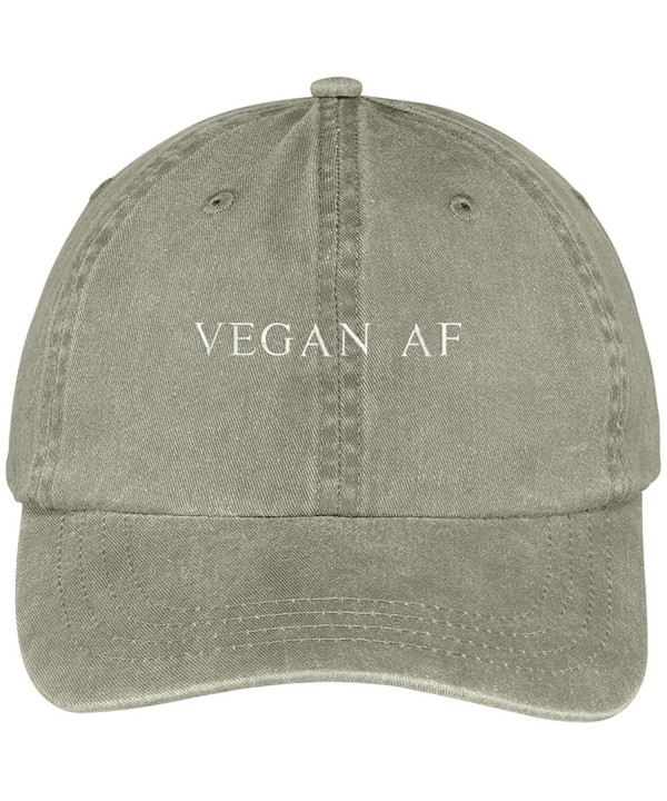 Trendy Apparel Shop Vegan AF Embroidered Pigment Dyed Washed Cotton Cap - Khaki - CK12KIK3VYZ