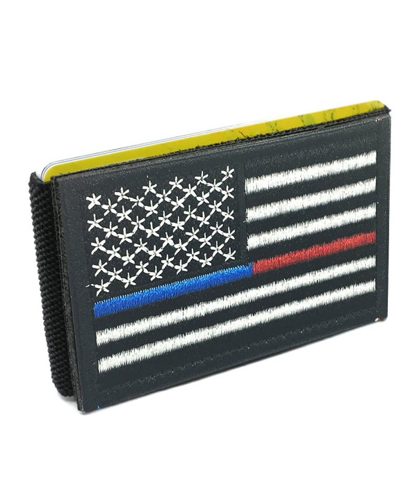 iCraft-Slim Front Pocket USA Flag Tactical Patch Wallet - Thin Blue Line and Thin Red Line - C5185RL07K6