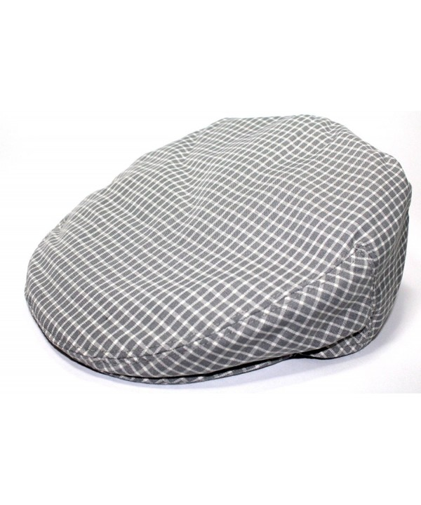 Mens Plaid Golfing Beret Summer Flat Ivy Driving Cabbie Cap Hat Ivy Newsboy - Grey Window Check - CT11UCVXCJF