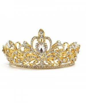 Wiipu Luxury Gold-tone Drop Queen Pageant Prom Crystal Wedding Bridal Tiara Crown(A1072) - gold - C6185L5QQKD