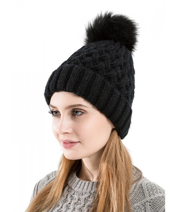Tossa Winter Beanie For Women Knitted Beanie Cable Knit Hat With Fluffy Pom Pom by - Blk - C0186AIXOXX