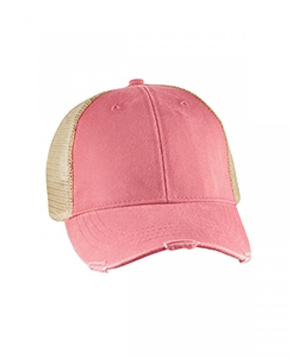 Mary's Monograms Monogrammed Distressed Trucker Hat Coral - C612O254DRH