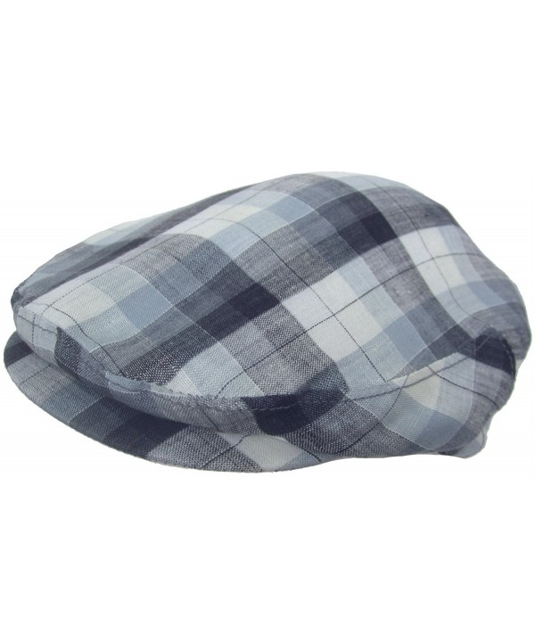 Headchange Made in USA 100% Linen Ivy Scally Summer Golf Hat Flat Cap - Blue Plaid - CK11K5ZDXO7
