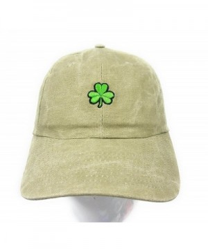 St. Patrick's Day Clover Dad Hat Baseball Cap Shamrock Hat Embroidered in USA Shamrock Cap Collection - Khaki - CW17Y04ADI7