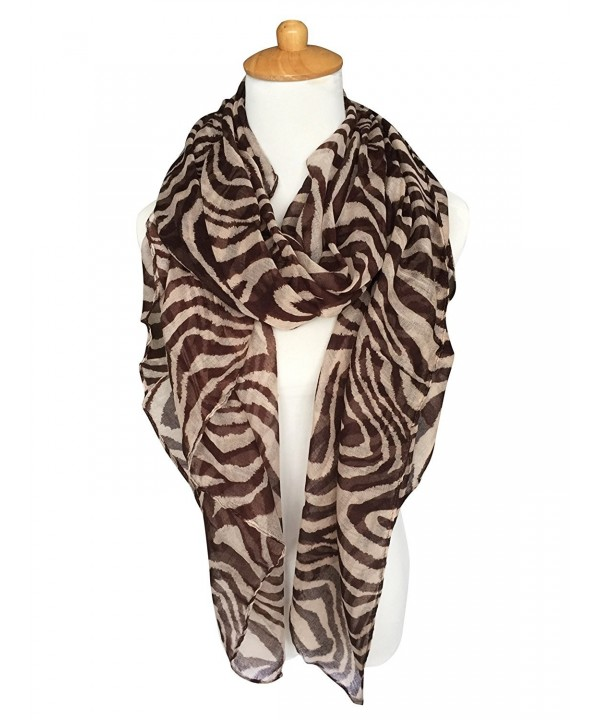 GERINLY Scarves - Animal Print Shawl Wraps Fashion Zebra Pattern Scarf - Brown - CU12NTA0PIR