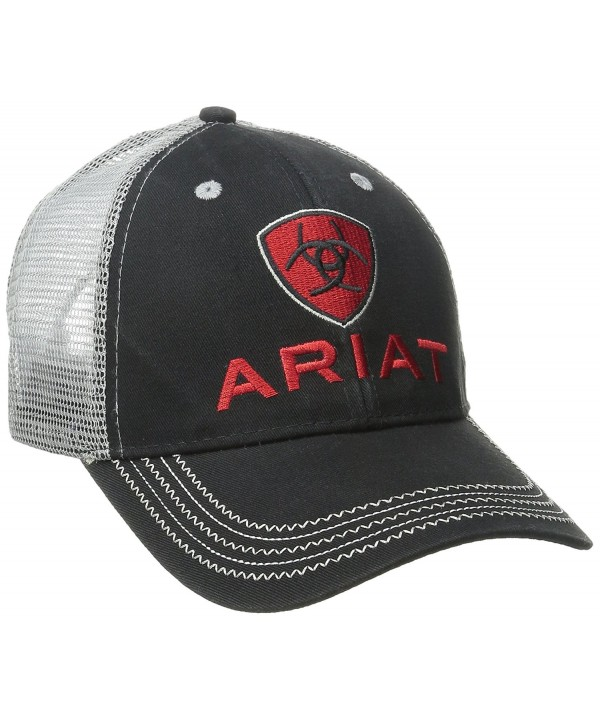Ariat Men's Black Red Gray Mesh Hat - Black - CY11QDVQ4GL