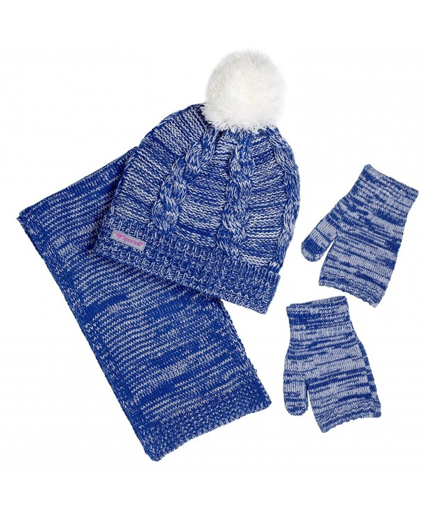 Sportoli Women's 3-Piece Cable Knit Cold Weather Accessory Set Warm Pull On Hat Scarf and Gloves - Navy / White - C312NTLCT0K