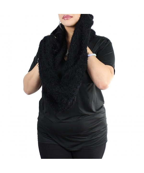 Very Soft Knitted Faux Fur Infinity Scarf - Faux Fur- Black - CX125VM1PST