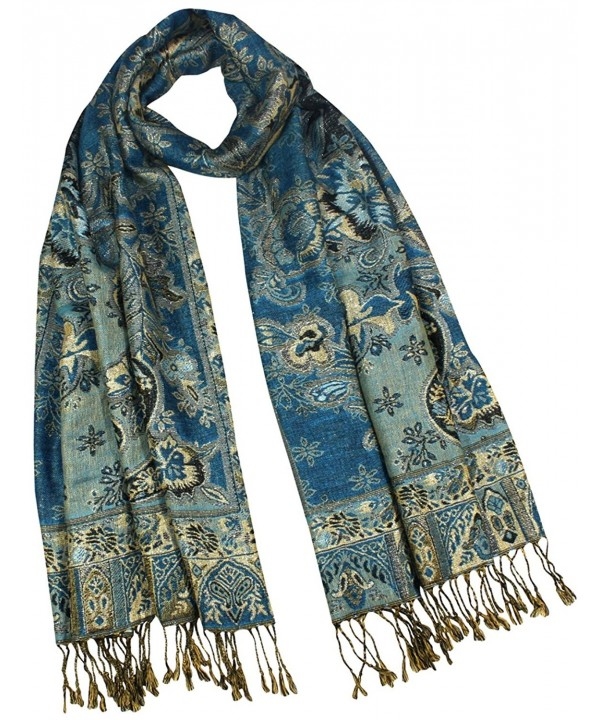 Rayon Metallic Paisley Flower Garden Two-Sided Reversible Scarf - Teal Blue - CO115O7Y8W7