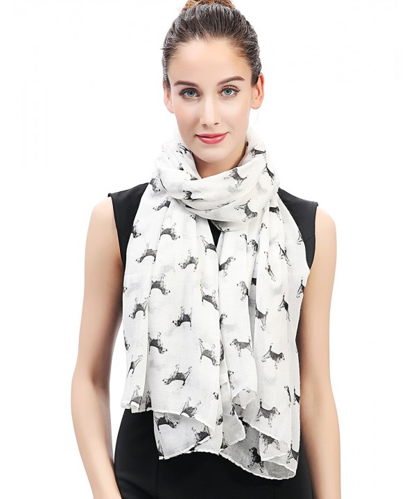 Lina & Lily Sketch of Dogs Print Women's Scarf Lightweight - Beagle-white - CH12JFHLQEJ