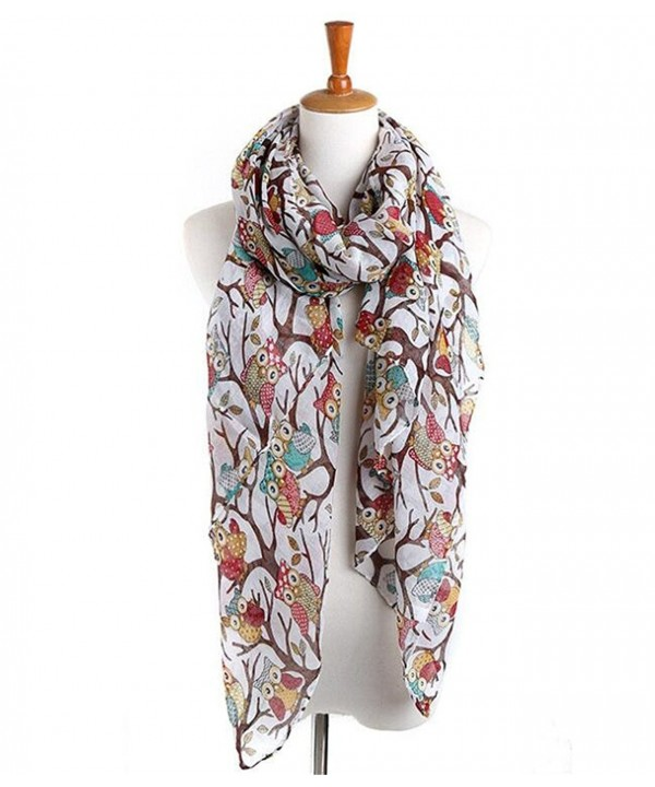 Cool Animal Printed Scarf Fashion Cute Womens Sheer Scarves Wrap - Cartoon Owl - White - CA187EAS6S8