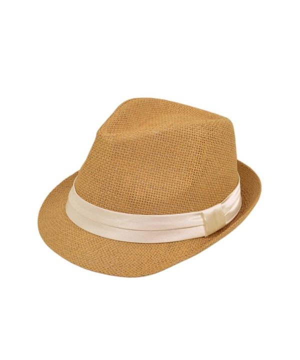 Classic Tan Fedora Straw Hat with Ribbon Band - Diff Color Band Avail - Cream Band - C311LGBBZ5D