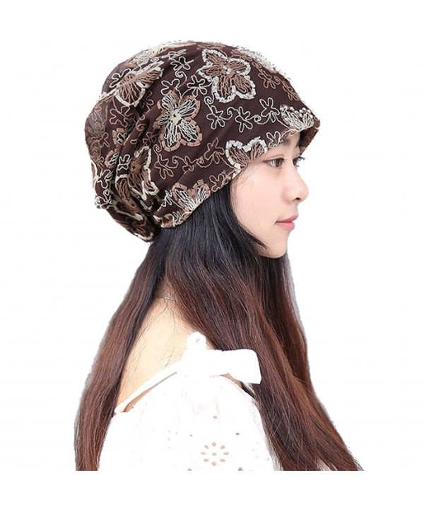 BW Women Summer Beanie Chemo Cap Hats and Scarves - Coffee - C012GGGFDB9