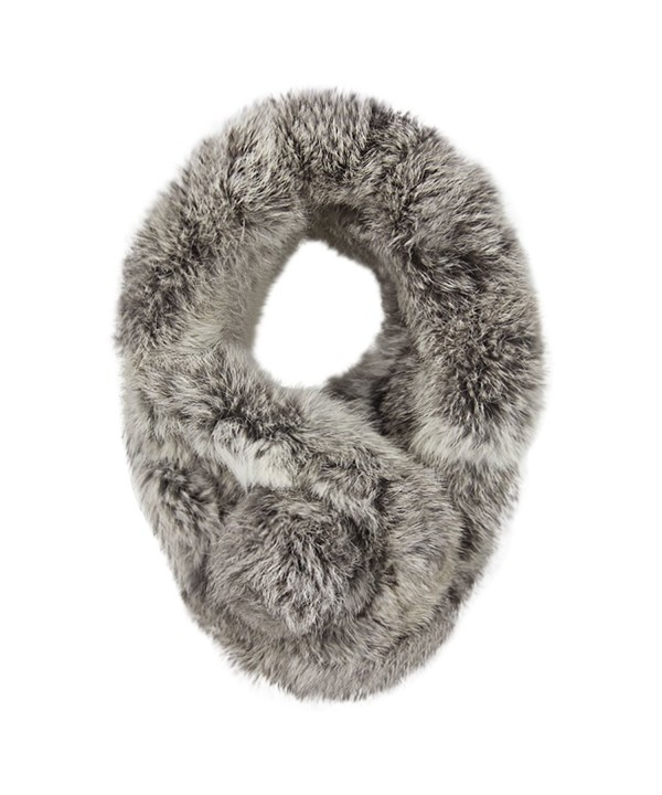 Women Winter Thick Faux-Fur Scarf Cute Plush Infinity Collar Scarf Cozy Warm Neckerchiefs - Dark Gray - CI1884KW9K6