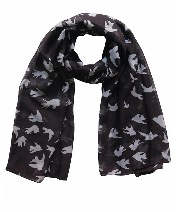 Lina & Lily Dove Print Women's Large Scarf Wrap Lightweight - Black and White - CT11AXKYHMZ