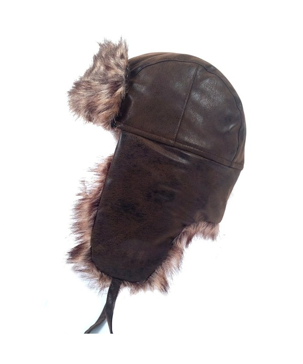 Schonfeld Men's Aviator Bomber Style Faux Fur Lined Leather Style Hat - CF11QS3X0XT