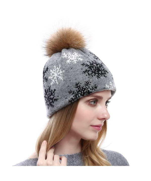 Vemolla Women Knitted Wool Beanie Hat With Large Raccoon Fur Pompom-Christmas Crystal Patterns - Lightgrey - CH186H9845C