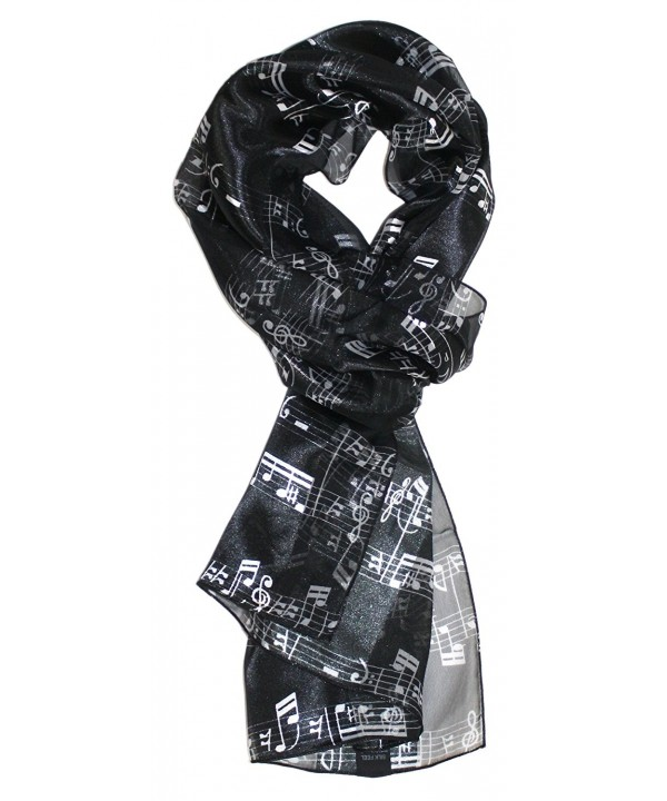 Ted and Jack - Music Lovers Silk Feel Print Scarf - Black Music Notes - CG180SOOZXQ