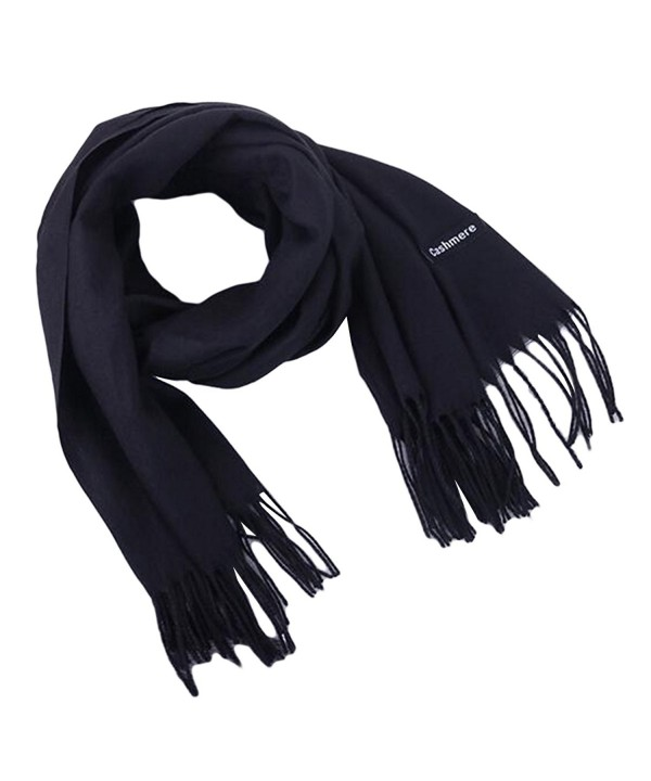 Earlish Men's Pashmina Scarf Solid Color Soft Cozy Cashmere Feel Warm Winter Scarf - Black - CJ188ZC375I