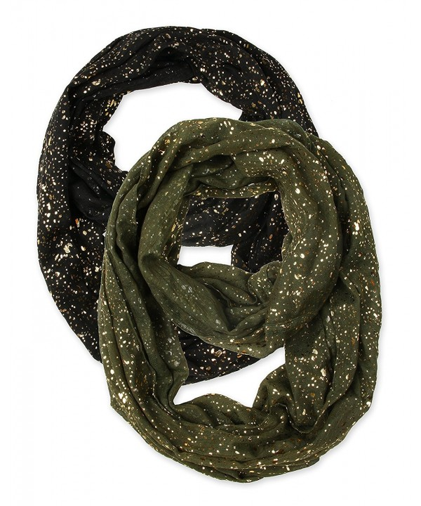 corciova Bronzing Starry Dot Fireworks Infinity Scarf Scarves - Starry Black and Olive - CD129BQDEVH
