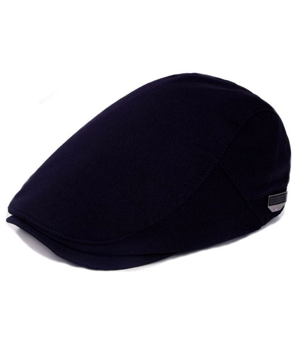 WEIJUN Retor Classic Beret Hat Badge newsboy Cap Solid Color Outdoor For Men - Navy - CJ187XXRQNS