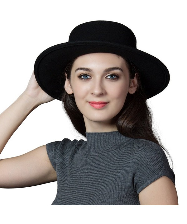 27d840d57ebf1 Womens 100% Wool Felt Fedora Hat Wide Brim Classic Pork Pie Hat Colors  88350_black C112MZTOAMU