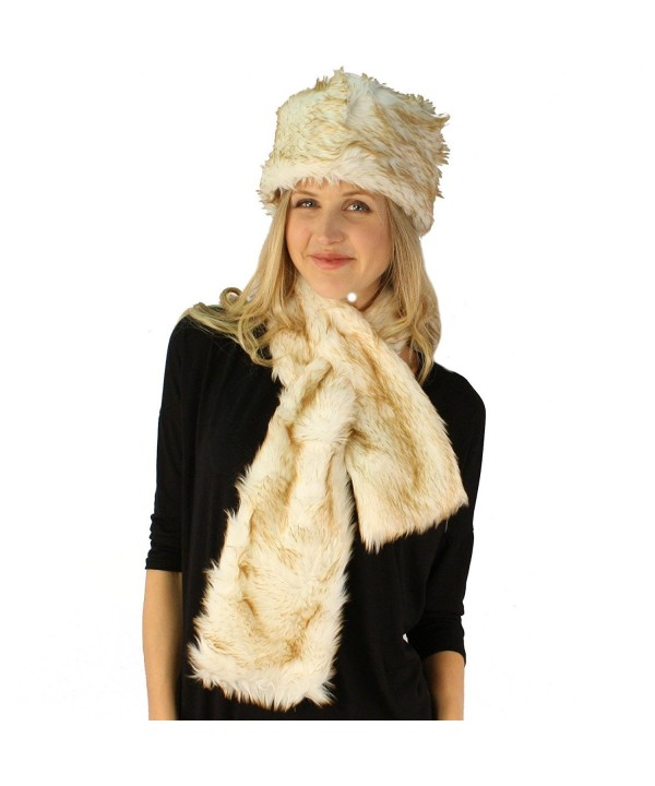 Ladies Winter Soft Animal Print Faux fur Bucket Ski Cap Hat Scarf Set - Cream - CP1102XD85V