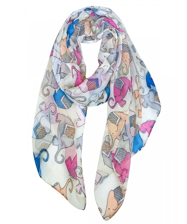 GERINLY Animal Print Scarves: Cute Elephant Pattern Wrap Scarf For Women - Cute Beige - CG12M25WDQB