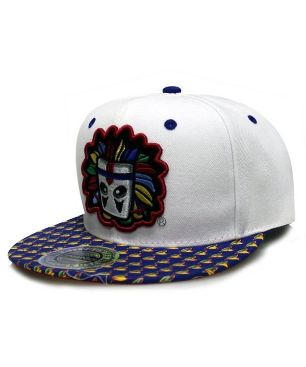 City Hunter Cf1556 Colorful Indian Mast Snapback Hats(3 Colors) - White/Royal - CS124USEU5Z