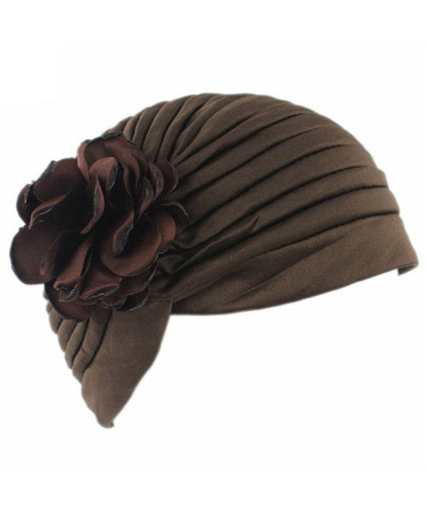 Finance Plan Women Muslim Indian Chemo Hat Stretch Flower Turban Cap Hair Loss Scarf Headwear - Coffee - C6187W99ALN