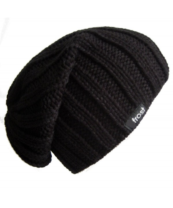 Frost Hats Fall Winter Mens Slouchy Hat Beanie Frost Hats - Black - CC11BH7MJNN