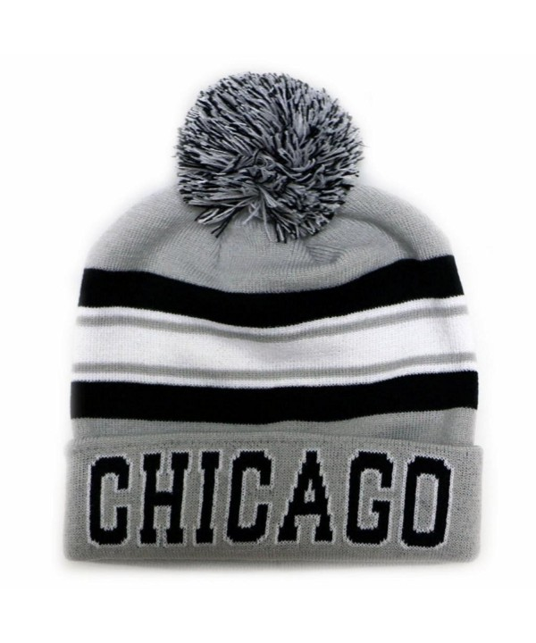 City Hunter Sk940 Chicago Stripe College City Pom Beanie Knit Hat (2 Colors) - Light Grey/Black - CR11OVEXIRP