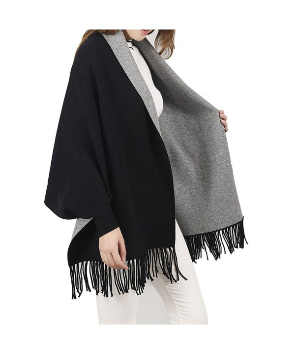 BeneAlways Women Reversible Cape Cloak Pashmina Poncho Scarf Shawl Wrap - Black + Grey - CY187AI7SL5