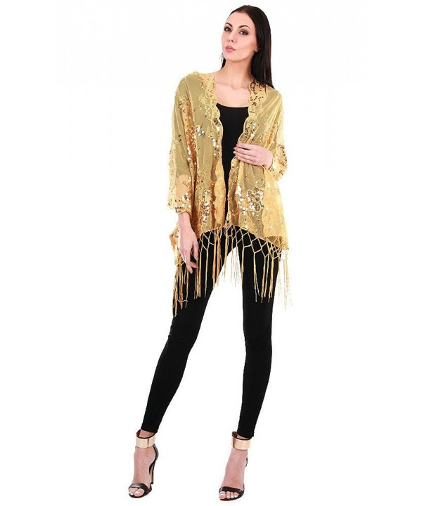 Sheer Mesh Flower Sequin Evening Wrap Shawl w/ Fringe for Prom Wedding Formal - Gold - CO12FZVCVST