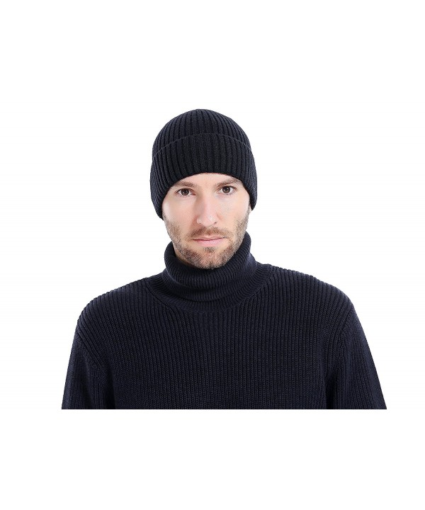 BaronHong Vertical Stripes Warm Velvet Slouchy Daily Beanie Skull Cap Hat For Men - Black - CZ186D3QCL8