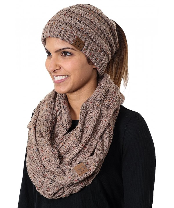 Funky Junque CC Messy Bun BeanieTail Bundled w Matching Infinity Scarf - A Confetti Taupe Design - C2180MYWE4Y
