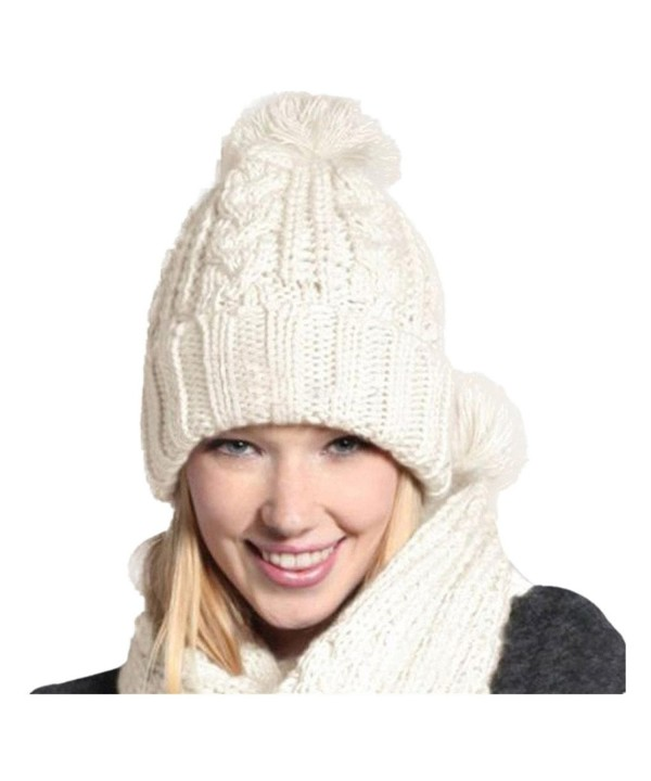 Tiean 1Set Women Warm Woolen Knit Hood Scarf Shawl Caps Hats Suit - White - C012O67Y8YA